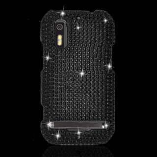Motorola Electrify Black Diamond Bling Hard Case Cover +Screen