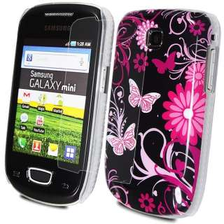 BLACK HOT PINK FLOWER IMD CASE COVER FOR SAMSUNG GALAXY MINI S5570