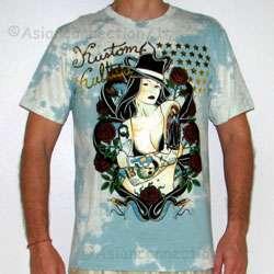 DEATH MADONNA New Kustom Kulture T shirt L Large Acid Wash Foil