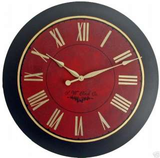 Large Wall Clock 30 Antique Style Red Big Gold Tuscan