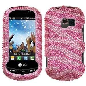 Hot Pink/Pink Zebra Skin Full Diamond Crystal Bling