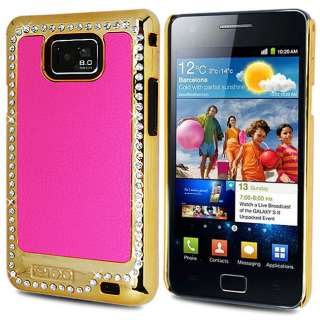 GALAXY S2 I9100 PINK LUXURY BLING CRYSTAL LEATHER BACK CASE COVER