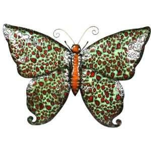 Pinnacle Strategies Metal Brown & Red Butterfly Wall
