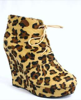 26G WOMENS LADIES LEOPARD PRINT LACE UP WEDGE SHOE ANKLE BOOTS SIZE 3