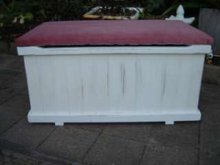 Shabby country Style white, Pine timber toy box & Seat