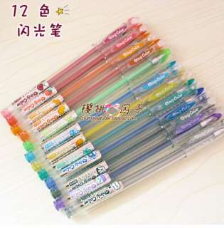 Korean Stationery Office Shiny Sign Pen set 12 Colour