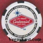 Las Vegas Centennial Chip Poker Casino White 100th