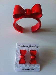 Parure Bracelet noeud papillon et boucle doreille rouge top tendance