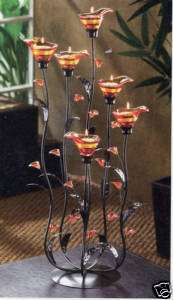 Tiffany amber stained Glass Candelabra Candleholder 24
