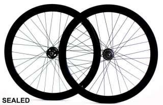 Single Speed Road Bike Track Wheel Wheelset 50mm Deep V Sealed Black