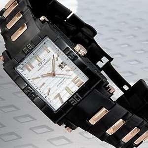 Rosetone Accented Black Stainless Steel Bracelet Watch
