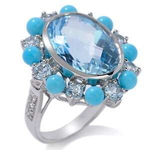 Blue Topaz and Sleeping Beauty Turquoise Sterling Silver Oval Ring at