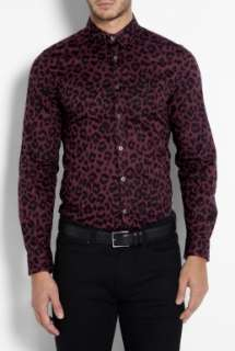 PS Paul Smith  Burgandy Leopard Print Slim Shirt by PS Paul Smith