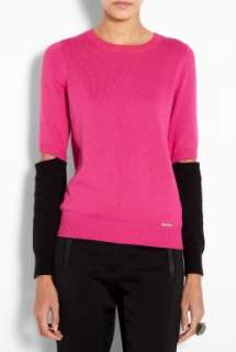 MICHAEL Michael Kors  Long Sleeve Colour Blocked Elbow Slit Sweater
