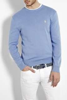 Polo Ralph Lauren  Lichfield Sky Blue Pima Cotton Slim Crew Knit by