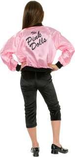 Printed Jacket Pink Dolls Child Costume   Pink satin front zip