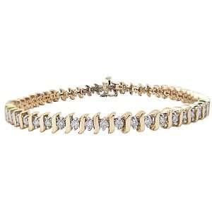 14k Yellow Gold Diamond S Link Tennis Bracelet (2 cttw, H I Color, I1