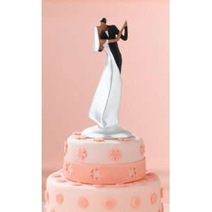 African American Wedding Cake Topper Kissing Bride & Groom African