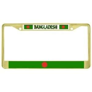 Bangladesh Flag Gold Tone Metal License Plate Frame Holder