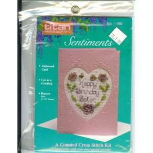 Sentiments HAPPY BIRTHDAY SISTER Counted Cross Stitch Card