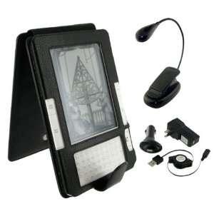 Black Full Genuine Leather Flip Case with Retractable USB