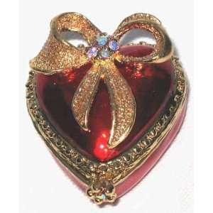 Jewelry Box Pewter Gem Studded Gold Bow On Heart  Home