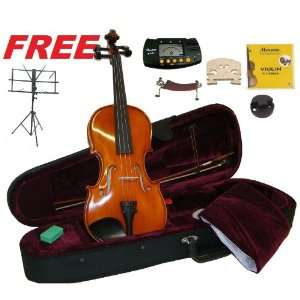 Merano MV500 4/4 Full Size Ebony Oil Varnish Flamed Violin,Case,Bow