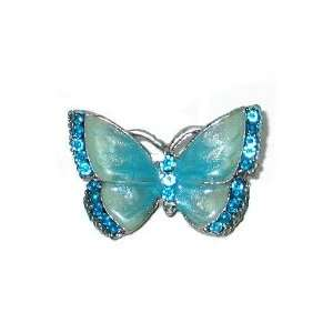 Rhinestone Crystal Butterfly Pin Brooch BLUE   Decorative