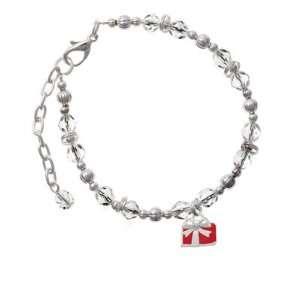 com Small Red Enamel Present Clear Czech Glass Beaded Charm Bracelet
