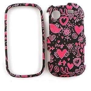 SAMSUNG MESSAGER R630 R631 Pink Hearts on Black HARD PROTECTOR COVER