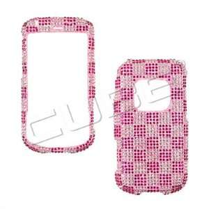 Handmade Checkboard Bling Crystal Diamond Stone Pink Protective Cover