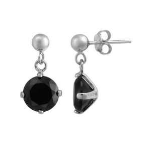 Sterling Silver Round Black Cubic Zirconia Drop Earrings