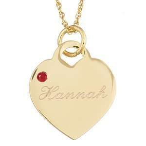 Birthstone Heart Charm Pendant   Personalized Jewelry Jewelry