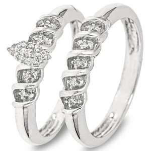 Round Cut Diamond Ladies Bridal Wedding Ring Set 10K White Gold