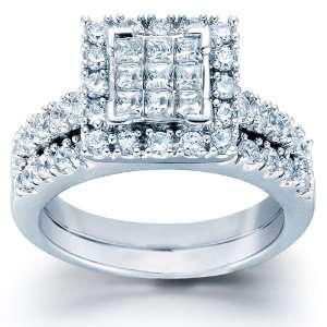ctw Princess Cut Diamond Wedding Set in 14kt White Gold (7) Jewelry