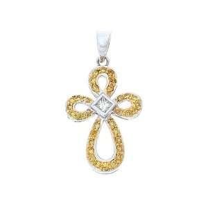 18K White Gold Genuine Yellow + White Diamond Cross Pendant Jewelry