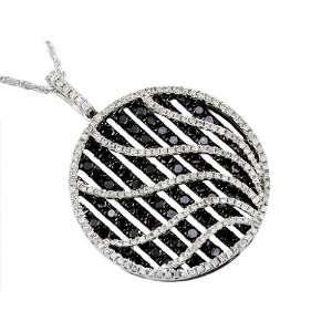 ct Black & White Diamond Necklace in 14k White Gold Jewelry