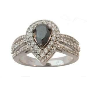 14K White Gold Pear Shape Black Diamond and Round Cut White Diamonds