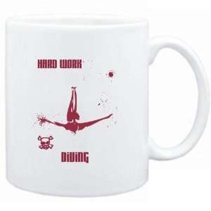 Mug White  HARD WORK Diving  Sports  Sports & Outdoors