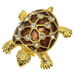 Acosta   Brown Enamel & Crystal   Gold Colored Turtle Brooch Jewelry
