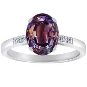 Created Oval Alexandrite and Diamond Ring(MetalYellow  Jewelry