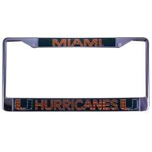 NCAA Miami Hurricanes Chrome Hologram License Plate Frame