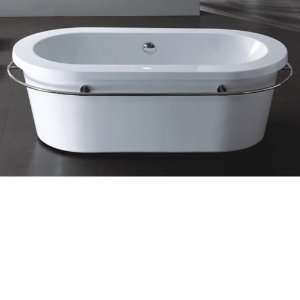 Seebra Acrylic Oval Freestanding Tub with Stainless Steel