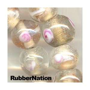 Pink Roses WHITE GOLD Swirl Lampwork Glass Beads 40pc 10mm