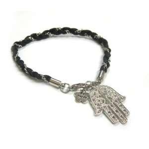 Cord Silver Hamsa/Hand of Fatima Good Luck Charm Bracelet Jewelry