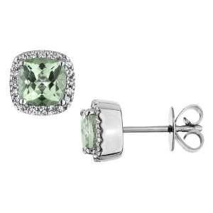 Green Amethyst Earrings with Diamonds 2.50 Carat (ctw) in 14K White