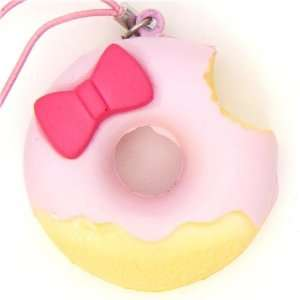pink Hello Kitty donut squishy charm with ribbon Toys