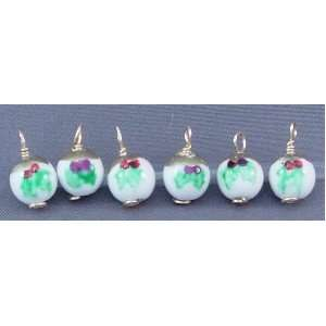 Holly Christmas Ornaments Set/ 6pcs.