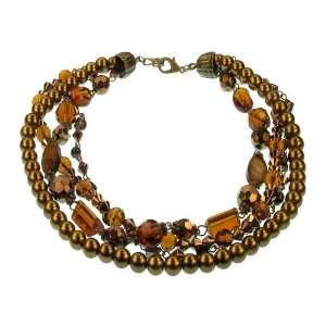 Bronzed Pearl Crystal Necklace Fashion Jewelry Jewelry