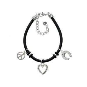 Horseshoe Black Peace Love Charm Bracelet Arts, Crafts